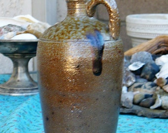 1950's  Campos Filhos Avero Portugal Brown Speckled Art Pottery Bottle
