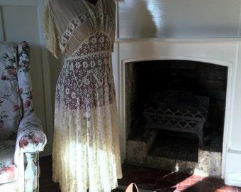 1920s Ivory Lace & Chiffon dress