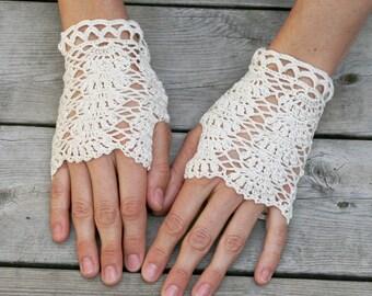Handmade Crochet Summer Fingerless Gloves from Pure Cotton