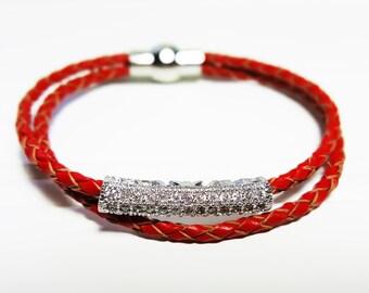 PAVE Braided Leather Bracelet   Girls bracelet   Double Loop Braided Leather Bracelet   Gift for her   Crystal bracelet   Magnet clasp