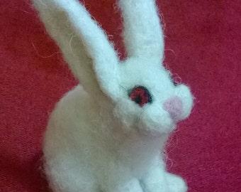"""Needle felted white rabbit """"Shoshi"""",needle felted animal,rabbit"""