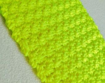 Neon Yellow Crochet Scarf / Soft Winter Scarf / Long Crochet Scarf / Handmade Scarf