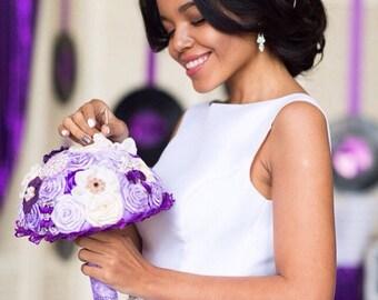 Purple brooch bouquet. Brooch bouquet, fabric bouquet. Wedding bouquet, wedding set, wedding purple bouquet. Bridesmaids bouquets. Wedding