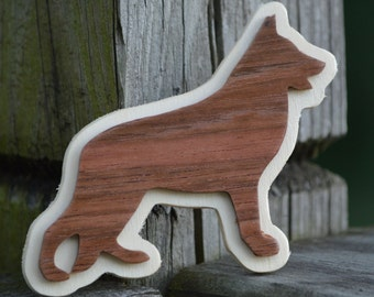 Bubinga German Shepherd Magnet