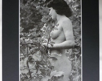 1930s Vintage Erotic Print, Raven Haired Girl French erotica art, risque naturist decor, Available Framed, Sexy Wall Art, Nude Photography