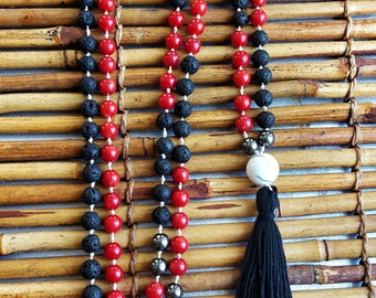 Black Lava Rock & Red Onyx Mala Beads