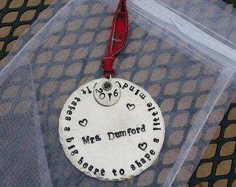 Personalized Hand Stamped Teacher Ornament