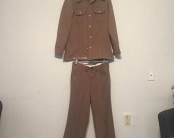 VTG Levis Panatela Pant suit mens size small tan disco western