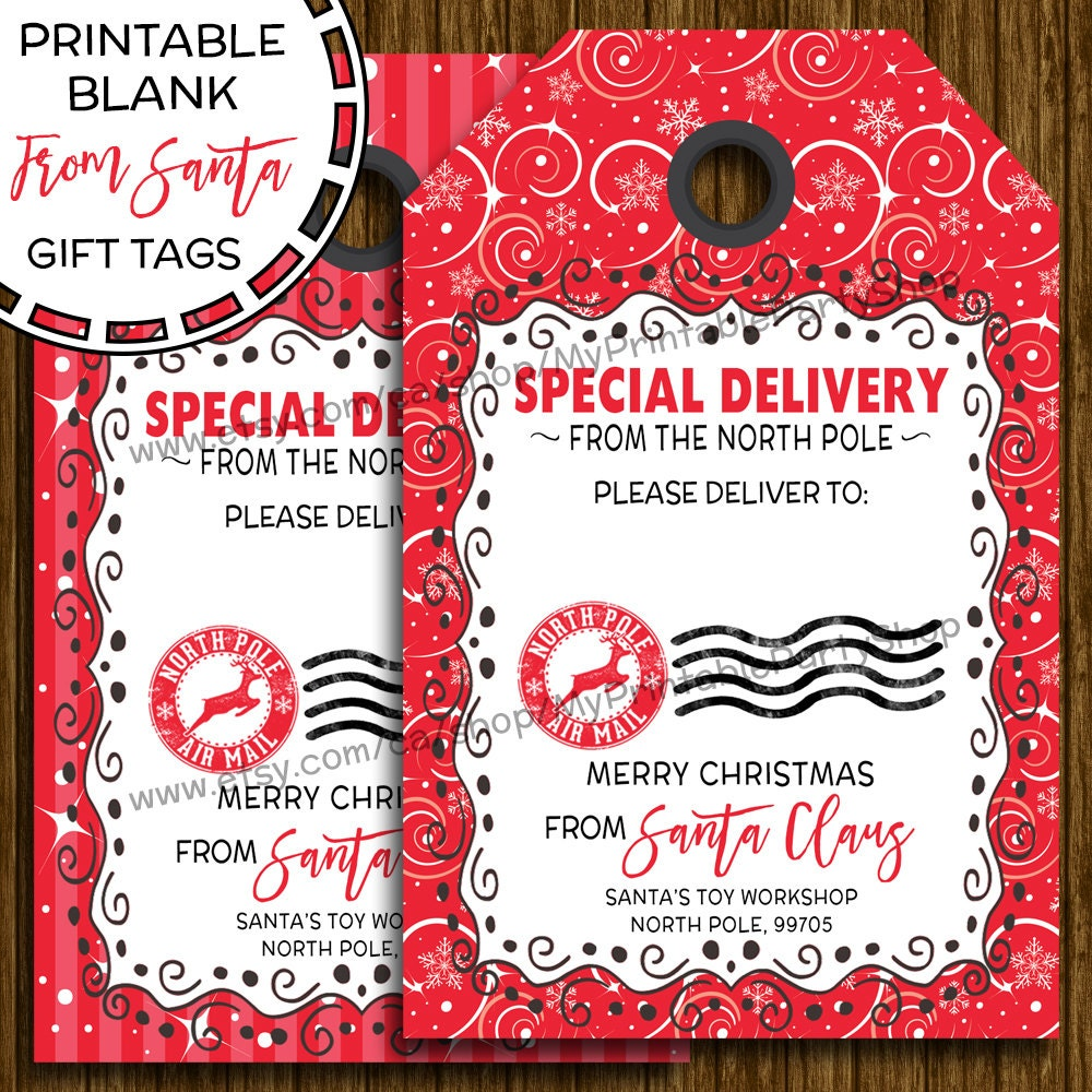 This is an image of Geeky Printable Santa Gift Tag