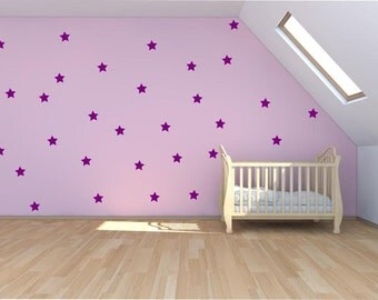 Stars Vinyl Wall Art - 51 Stars in total - 36 Large and 15 Small