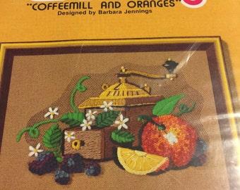 "Jiffy Stitchery ""Coffee Mill and Oranges "" crewel kit by Barbara Jennings"