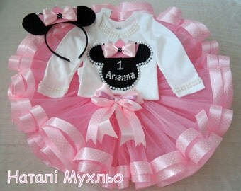 Pink Minnie Mouse Tutu Set Minnie Mouse Birthday Outfit 2 Minnie Mouse Birthday Tutu Outfit Minnie Mouse 1st Birthday Tutu Outfit Baby Tutu