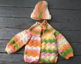 Baby Sweater Set -- White/Orange/Green/Yellow Sweater and Hat