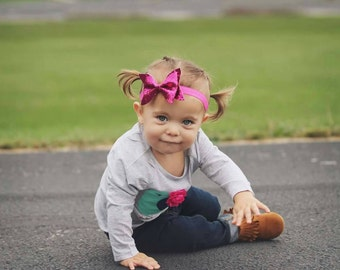 Pink glitter 18 months to Toddler bow headband