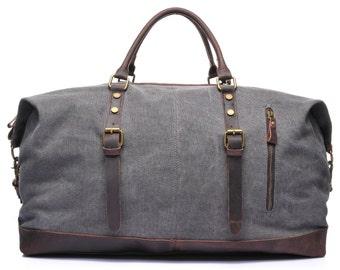 Waxed Canvas Duffle Bag, Weekend Bag, Duffel Bag Men, Weekender Bag, Leather Duffle Bag, Mens Duffel Bag, Gym Bag, Personalized Duffle Bag