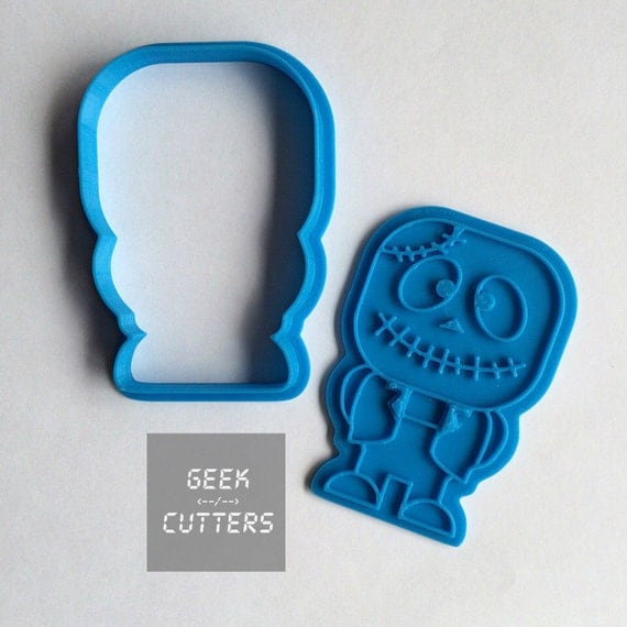 Cute Zombie Frankenstein Cookie Cutter -  Halloween - Fondant, Backing Mold, 3d printed, Cookiecutter
