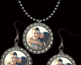 couples bottlecap necklace and earring set personalized custom your photo picture husband wife boyfriend girlfriend