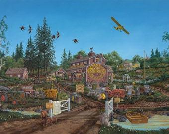 American Genre painting,Nostalgic Americana,original oil painting,country scene,antique barn art,rural scene,country road art,30x48 original