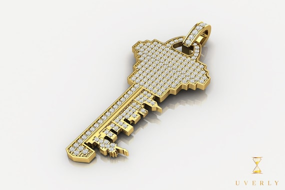 14k 18k Solid Gold New York City Key Diamond Charm Pendant