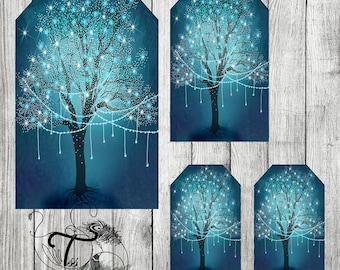 Printable  Tags Whimsical tree of magic ,magical lights fairy Hand Drawn ,blue ,white ,tree , magical tree Instant Download