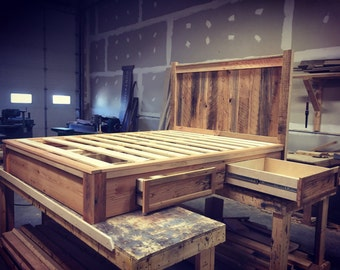 reclaimed wood bed platform bed barn wood furniture storage bed bed frame