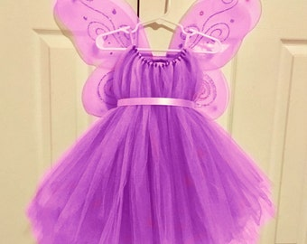 Fairy Costume - Purple Tulle Dress - Fairy Wings