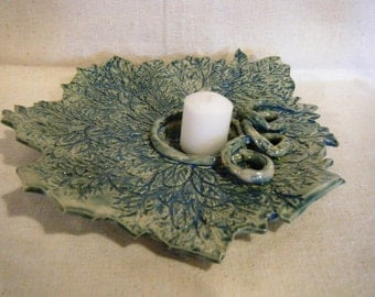 Stoneware Leaf Candle Holder