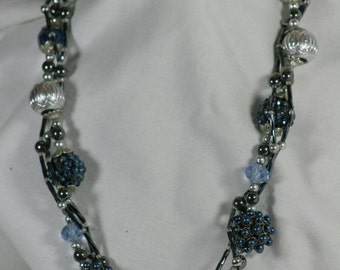 Fun and funky blue and chunky multi-strand necklace
