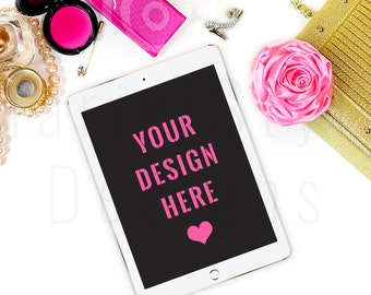 Styled Desktop Flatlay / Pink and Gold Styled Desk / iPad Mockup / Styled Stock Photography /Stock image / iPad stock image/High Res File 22
