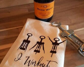 """Tea Towels, """"I work out"""", Kitchen Towels, Flour Sack Towels, Personalized, Funny, Gifts"""