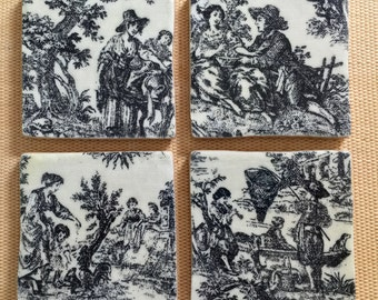 Classic Black and White Toile Coasters