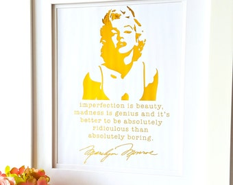 Personalized Gold Foil Print, Personalized Gift, Marilyn Monroe Quote, Gift for Her, Birthday Gift, Inspirational Quotes