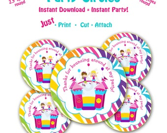 Bounce House Birthday Party Favor Tags -- Instant Download  Printable  Bounce House Party Favor