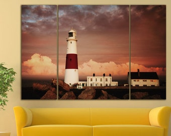 Lighthouse wall art Lighthouse wall decor Lighthouse canvas Lighthouse print Portland Bill Wall Art Portland Bill Large Canvas Print Decor