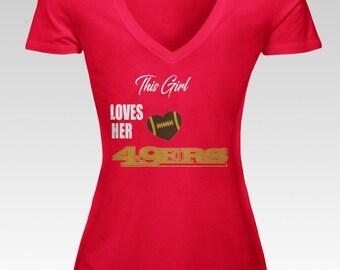 Loves Her 49ers Women's V Neck Tee