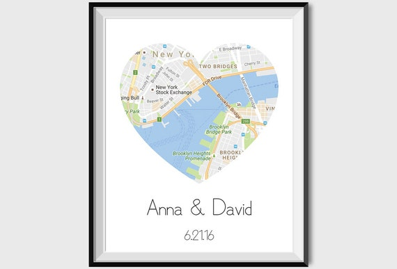 Map Art Wedding Gift : Personalized Map Print Wedding Gift Anniversary Map Art Love Art Gift ...