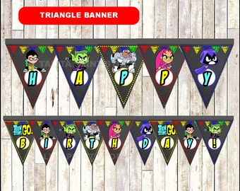 Teen Titans Go Chalkboard Triangle Banner, printable Teen Titans Go Banner, Chalkboard Teen Titans Go triangle Banner - Instant download