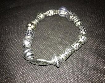 Silver Metal Beaded Bracelet