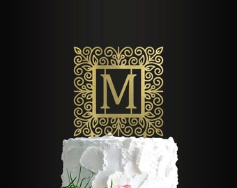 Personalized Wedding Cake Topper, Ornate Initial Design, Bride and Groom, Custom Cake Topper, Customizable Cake Topper