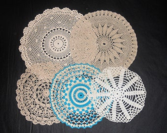 Vintage Doilies - Hand Crocheted Doilies - Assorted Patterns - 5 Doilies - Handmade - Round Doilies - Turquoise Doilie - Off White Doilies