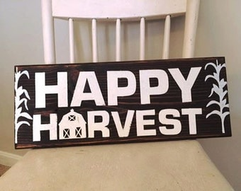 Happy Harvest Wood Sign