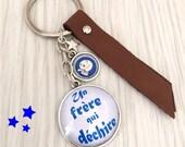 porte-clés a message thème un frère qui déchire bleu, cuir, REF.69