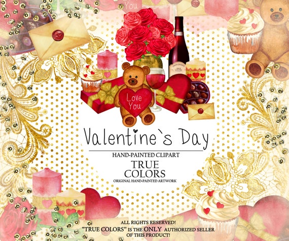 Valentine's Day Clip Art Watercolor Hand-Painted Red Pink Gold Foil Wine Wineglass Teddy Bear Heart Cupcake Illustration DIY Pack