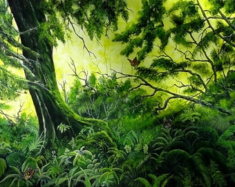 "Acrylic painting, landscape of vegetation in forest, tree with foam, butterflies in flight ""Has the edge of the Woods"""