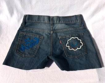 "The ""In Your Dreams"" Hand Embroidered Denim Shorts"