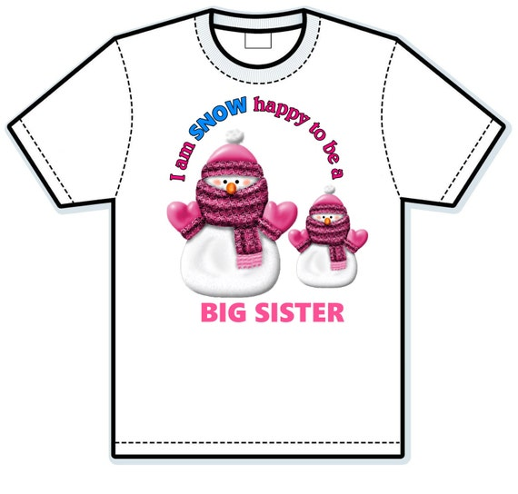 Snow to be a big sister Children's Hand Painted Shirts