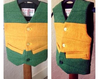 Baby Boy Harris Tweed waistcoat Toddler vest Green & Yellow wool vest Infant tweed waistcoat 16 months Wedding Christening Party Winter Vest