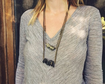 Pyrite Chunk Layered Necklace