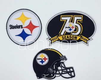Pittsburgh Steelers Embroidered Iron On Patch - Set 3 PCS.