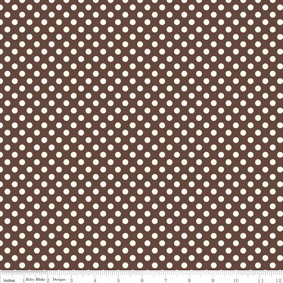 White and Brown Polka Dot Fabric - Riley Blake Le Creme Dot - Brown Dot Fabric
